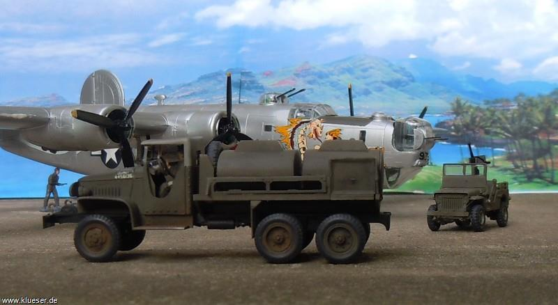 Consolidated B24J The Dragon and his Tail, GMC CCKW-353 Gasoline Tank Truck, Willys Jeep